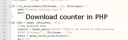 Download counter in PHP using .htaccess