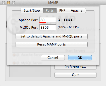 Change Apache port to 80 in MAMP